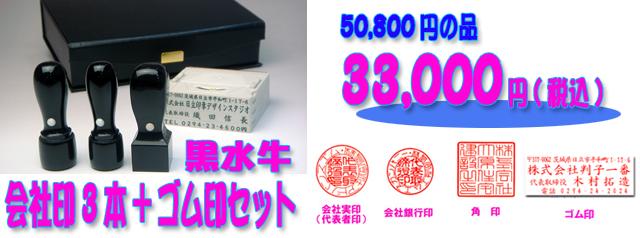 会社印セット黒水牛3本+ゴム印